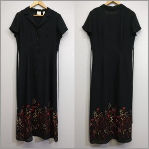 Emma James Size 10 Black tie button down dress